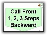 41. Call (Dog) Front – 1, 2, 3 Steps Backward. While heeling, the handler stops forward motion and takes one to three steps backward, while calling the dog to the front position. (dog sits in front and faces the handler) The handler then proceeds to take one step backward and halts. This is followed by two steps and a halt, then three steps and a halt. The dog moves with the handler and resumes a sit in the front position each time the handler halts. Because this exercise concludes with the dog sitting in front of the handler, it must be followed by Exercise 35 (Finish Right), Exercise 35 A (Forward Right),  36 (Finish Left) or 36A (Forward Left). Handler may cue the dog to sit at each halt. The intent of this station is that the dog moves when the handler moves and Sits when the handler halts.  Therefore handlers MUST move and HALT 4 times and must meet the minimum required steps. Failure to meet the minimum required steps shall be scored as a non-qualifying score.  Should the handler add additional steps in error, this would incur a deduction of 3 pts for Handler Error for each part of the sequence that is incorrect but would not NQ, unless maximum point deductions for that exercise are accumulated.  Deductions: Failure of the dog to sit at each of the Halts will result in NQ-IP.  Failure of the dog to move with the handler will result in NQ-IP.