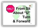 40. HALT   From Sit   About U Turn & Forward. The handler cues the dog to heel, turns 180 degrees to his/her left, and immediately moves forward with the dog in heel position.
